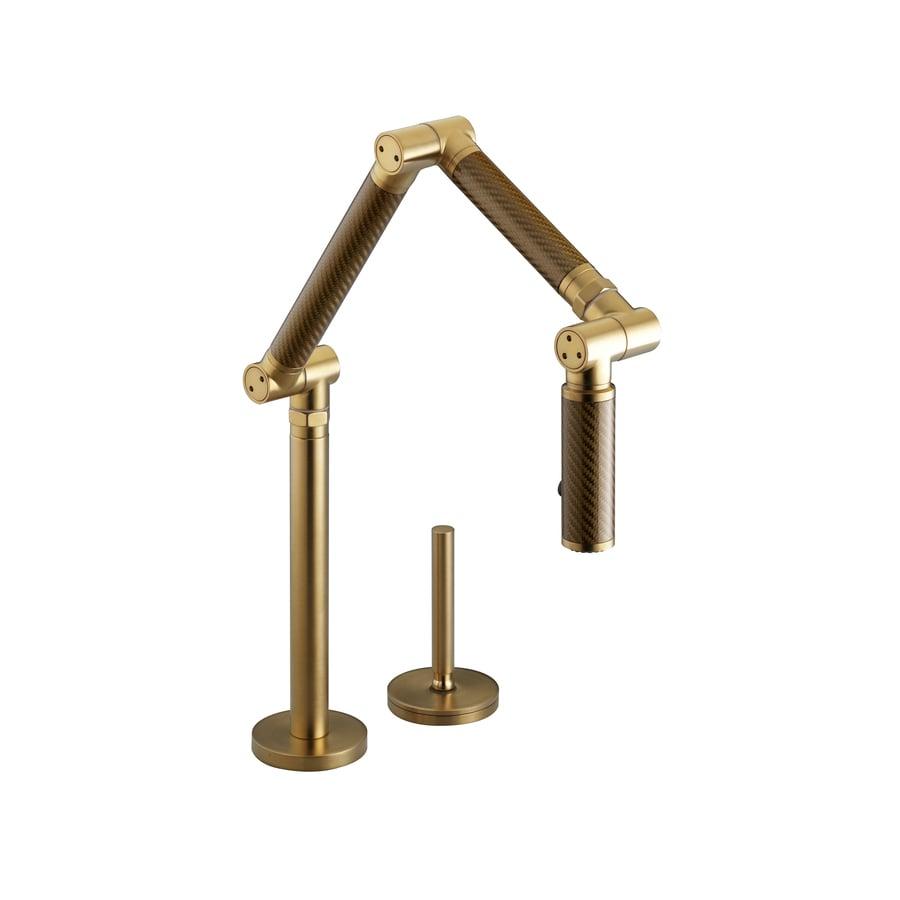 shop kohler karbon vibrant moderne brushed gold 1 handle high arc kitchen faucet at. Black Bedroom Furniture Sets. Home Design Ideas