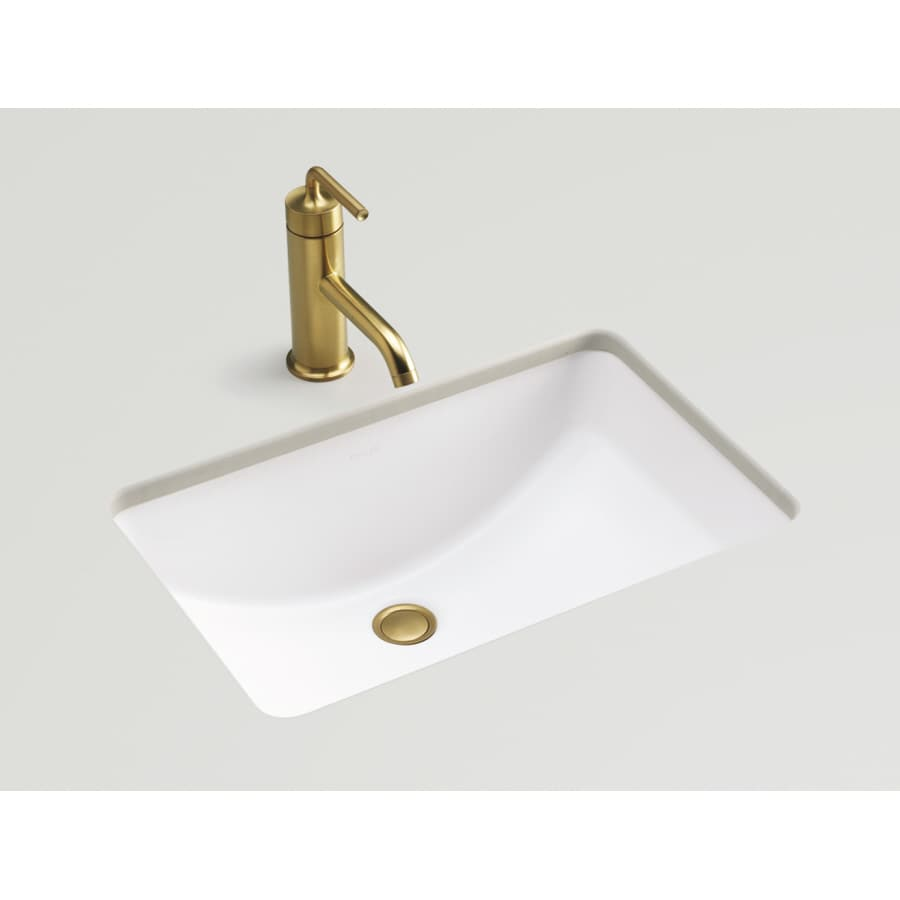 kohler undermount bathroom sink shop kohler ladena honed white undermount rectangular 19038