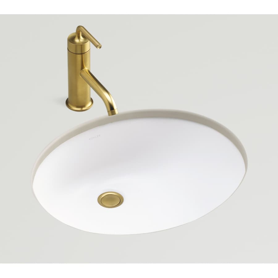 Shop kohler caxton honed white undermount oval bathroom sink with overflow at for Undermount bathroom sink lowes