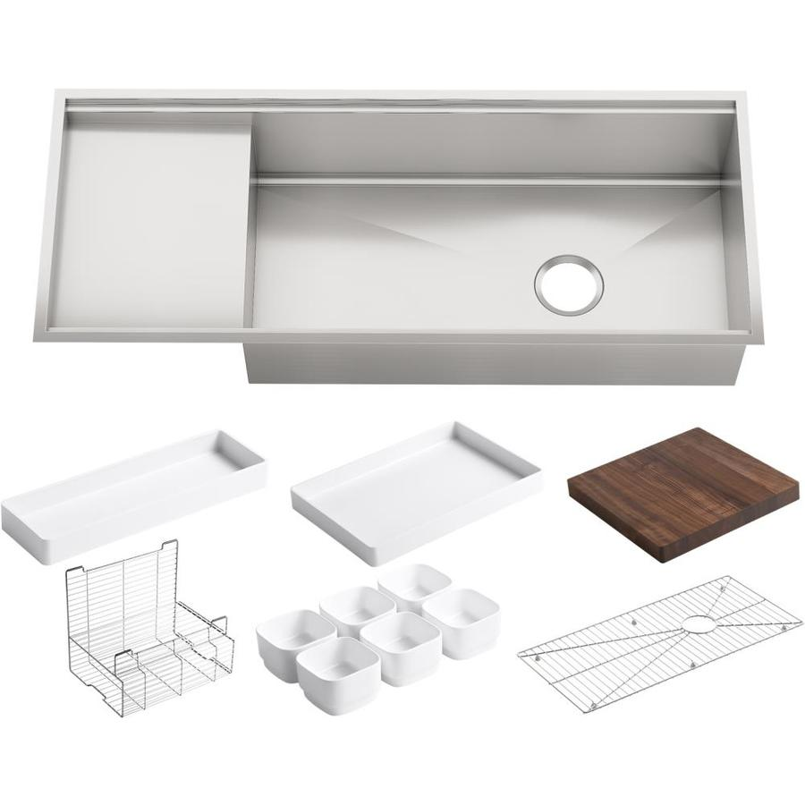 KOHLER Stages 18.5-in x 45-in Single-Basin Stainless Steel Drop-in Residential Kitchen Sink Drainboard Included