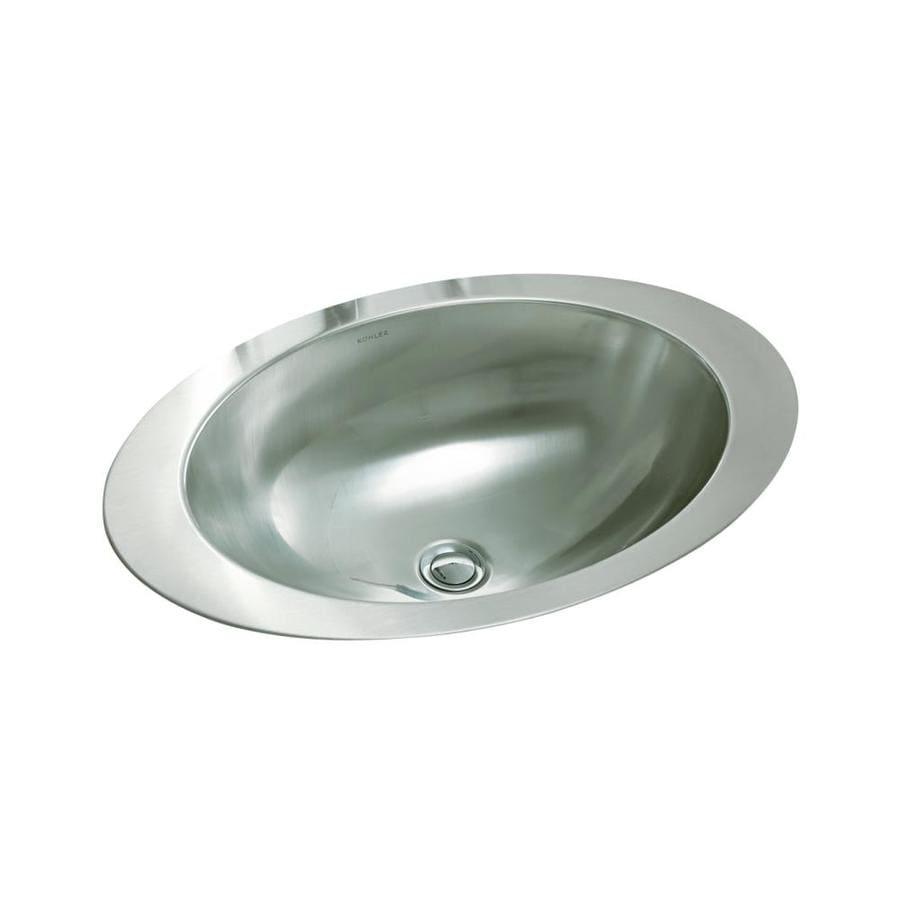 KOHLER Rhythm Stainless Steel Stainless Steel Drop-in Oval Bathroom Sink