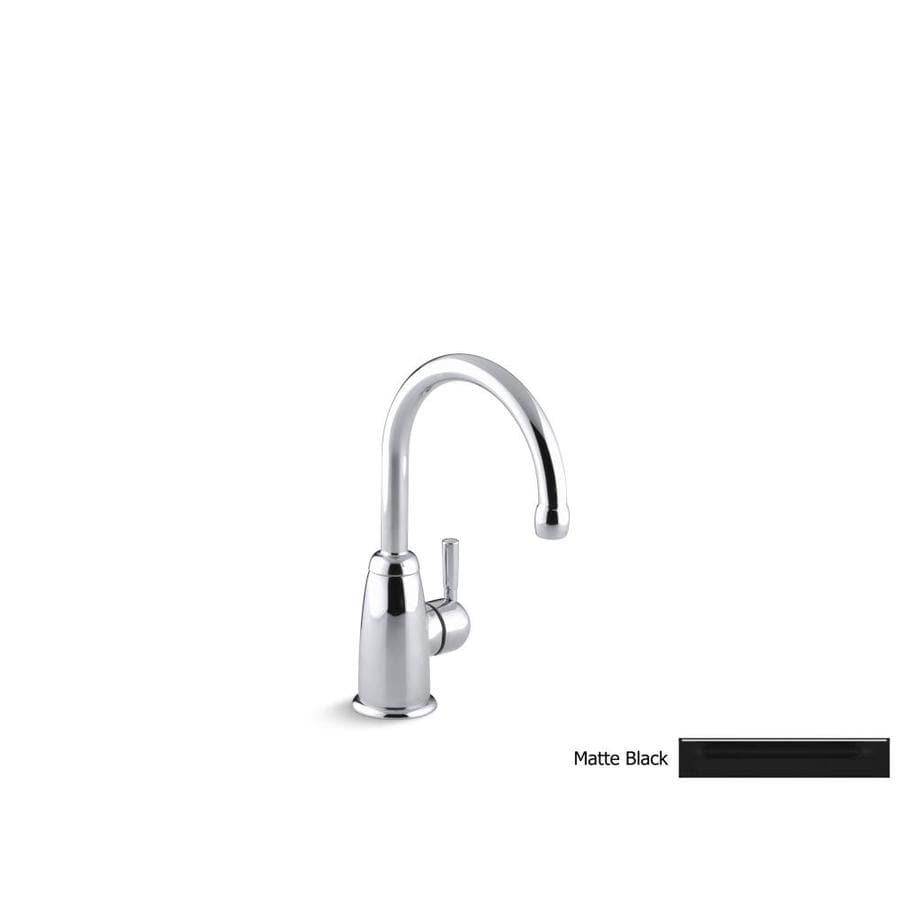 shop kohler wellspring matte black 1 handle kitchen faucet