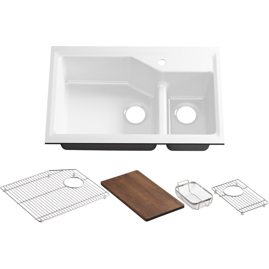 KOHLER Indio 21.12-in x 33-in White Double-Basin Cast Iron Undermount 1-Hole Residential Kitchen Sink Drainboard Included