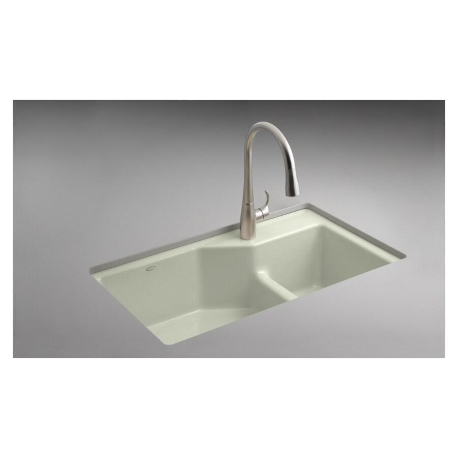 Shop KOHLER Double Bowl Undermount Cast Iron Kitchen Sink at Lowes.com
