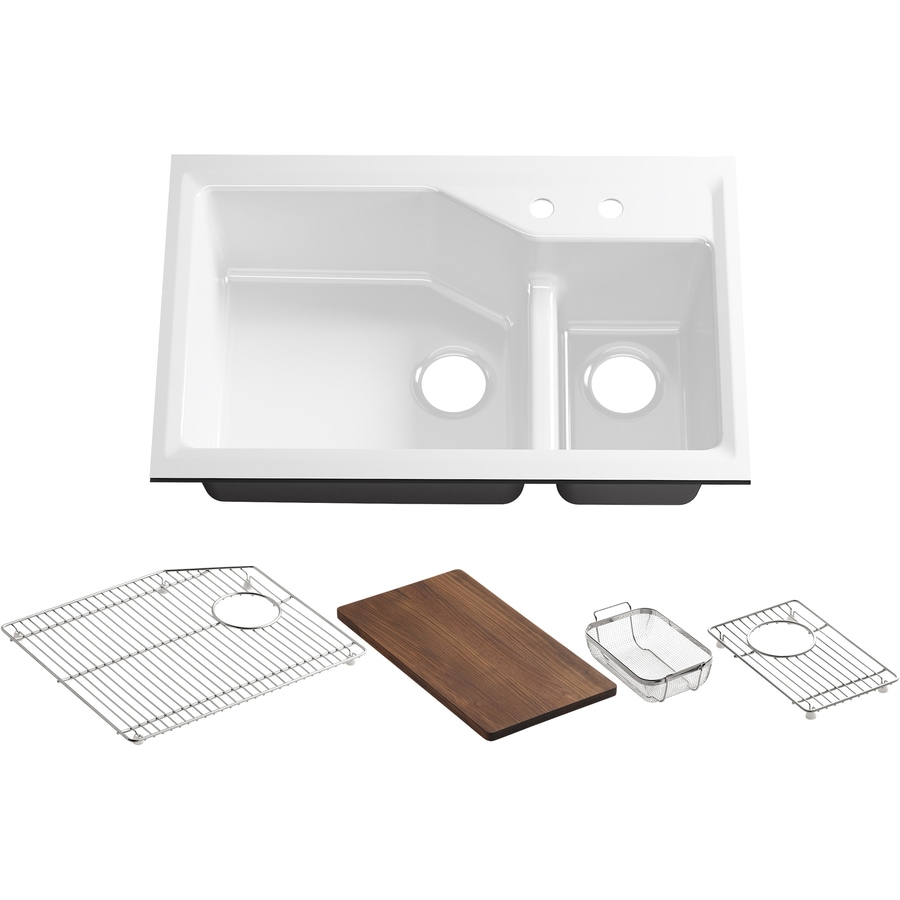 KOHLER Indio 21.12-in x 33-in White Double-Basin Cast Iron Undermount 2-Hole Residential Kitchen Sink Drainboard Included