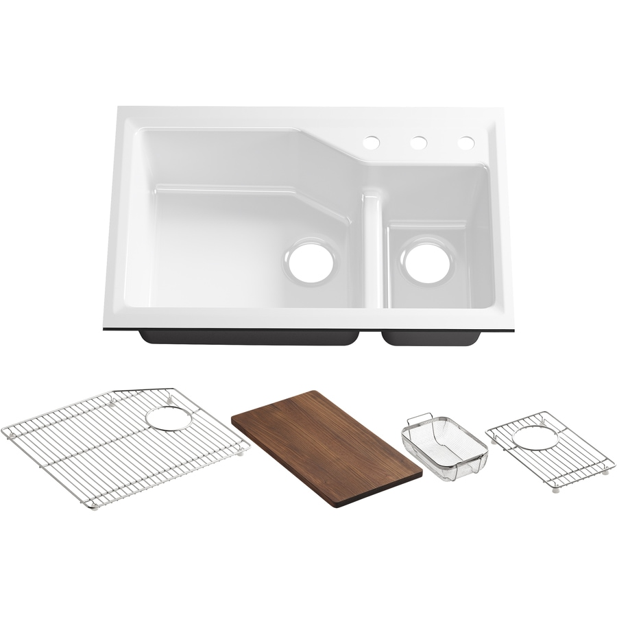 KOHLER Indio 21.12-in x 33-in White Double-Basin Cast Iron Undermount 3-Hole Residential Kitchen Sink Drainboard Included