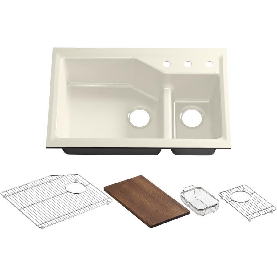 KOHLER Indio 21.12-in x 33-in Almond Double-Basin Cast Iron Undermount 3-Hole Residential Kitchen Sink Drainboard Included