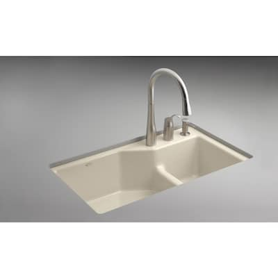 KOHLER Sandbar 3-Hole Double-Basin Cast Iron Undermount ...
