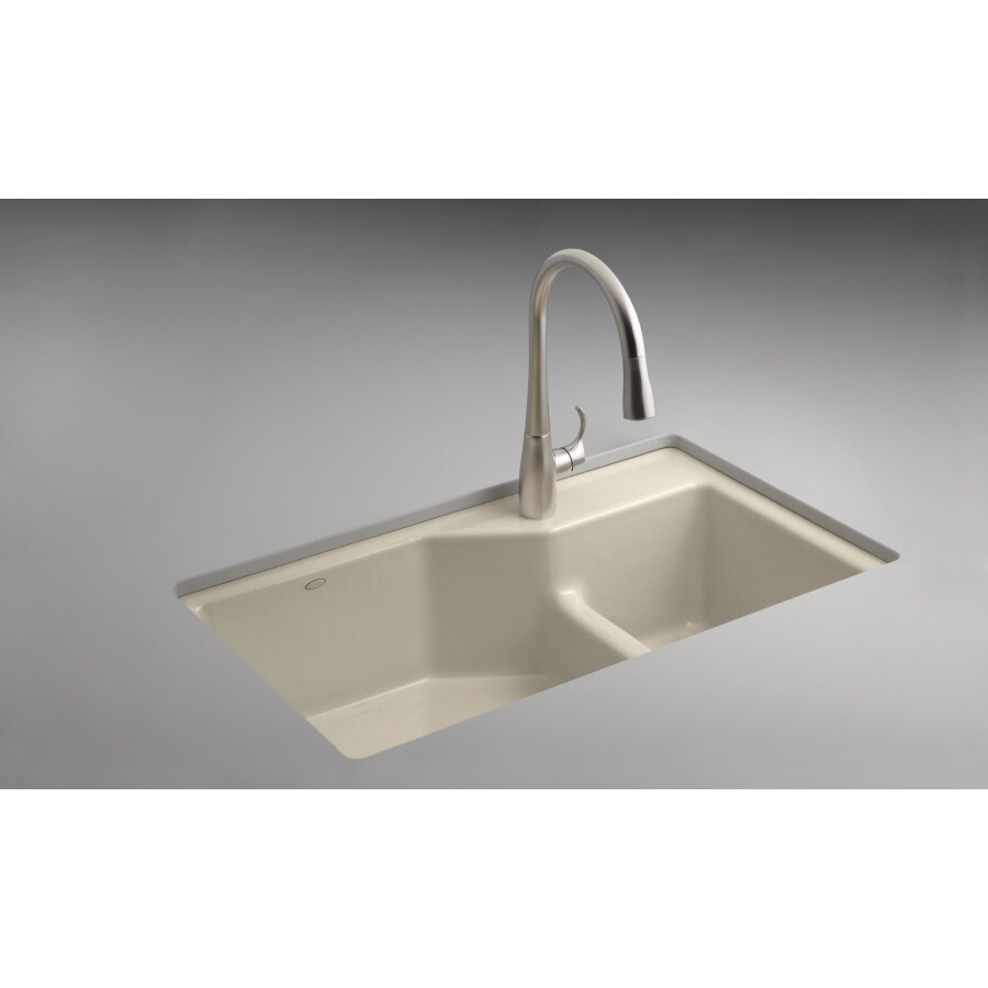 Kohler Almond 2 Hole Double Basin Cast Iron Undermount Kitchen Sink