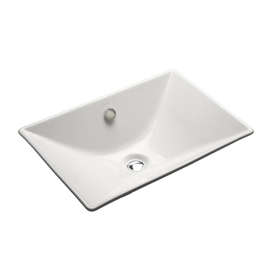 KOHLER Reve White Cast Iron Drop-in Rectangular Bathroom Sink with Overflow