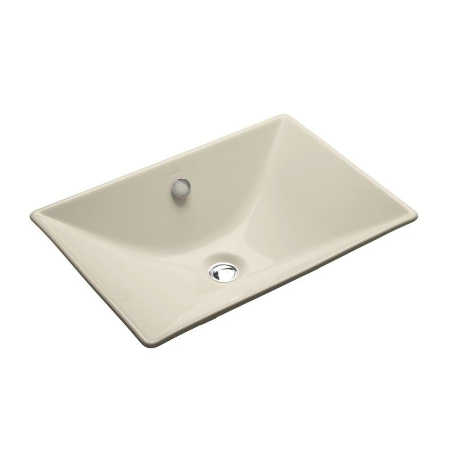 Shop kohler reve almond cast iron drop in rectangular bathroom sink with overflow at Kohler cast iron bathroom sink