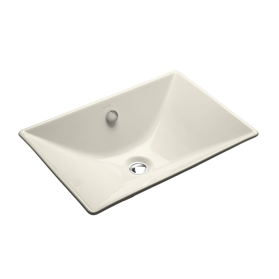 KOHLER Reve Biscuit Cast Iron Drop-in Rectangular Bathroom Sink with Overflow