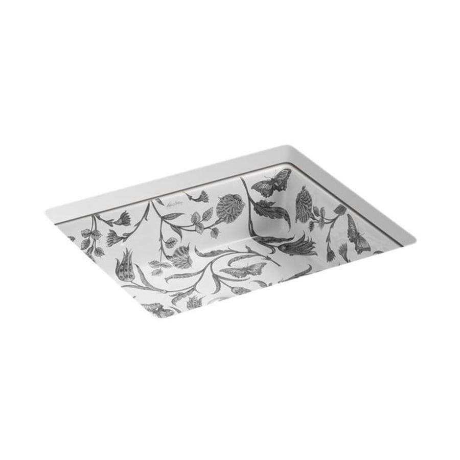 KOHLER Artist Editions Kathryn Botanical Study Undermount Rectangular Bathroom Sink