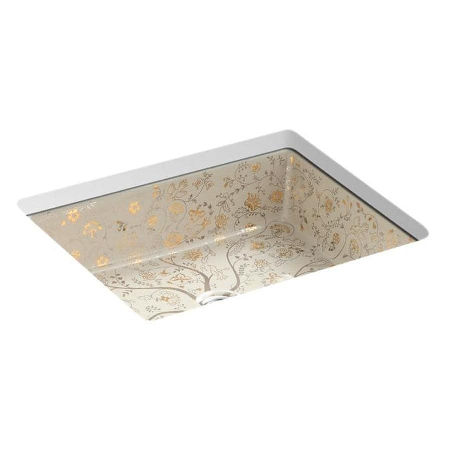 KOHLER Artist Editions Millie Fleurs Mille Fleurs Undermount Rectangular Bathroom Sink with Overflow
