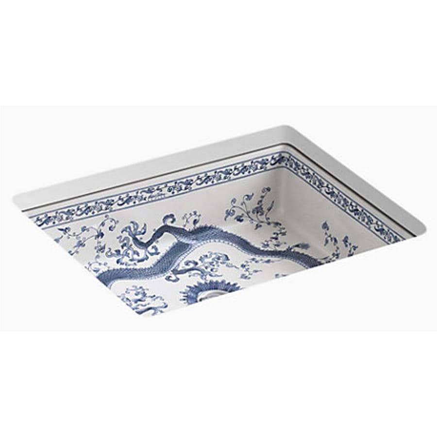 Shop kohler caxton biscuit undermount oval bathroom sink at lowes com - Kohler Artist Editions Imperial Blue Imperial Blue Undermount Rectangular Bathroom Sink