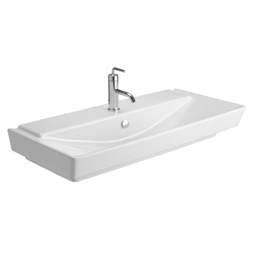 KOHLER Reve White Fire Clay Drop-in Rectangular Bathroom Sink with Overflow