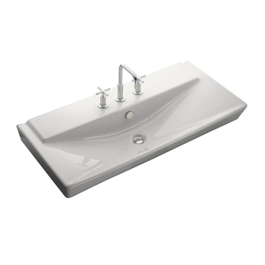 KOHLER Reve White Fire Clay Drop In Rectangular Bathroom Sink With Overflow
