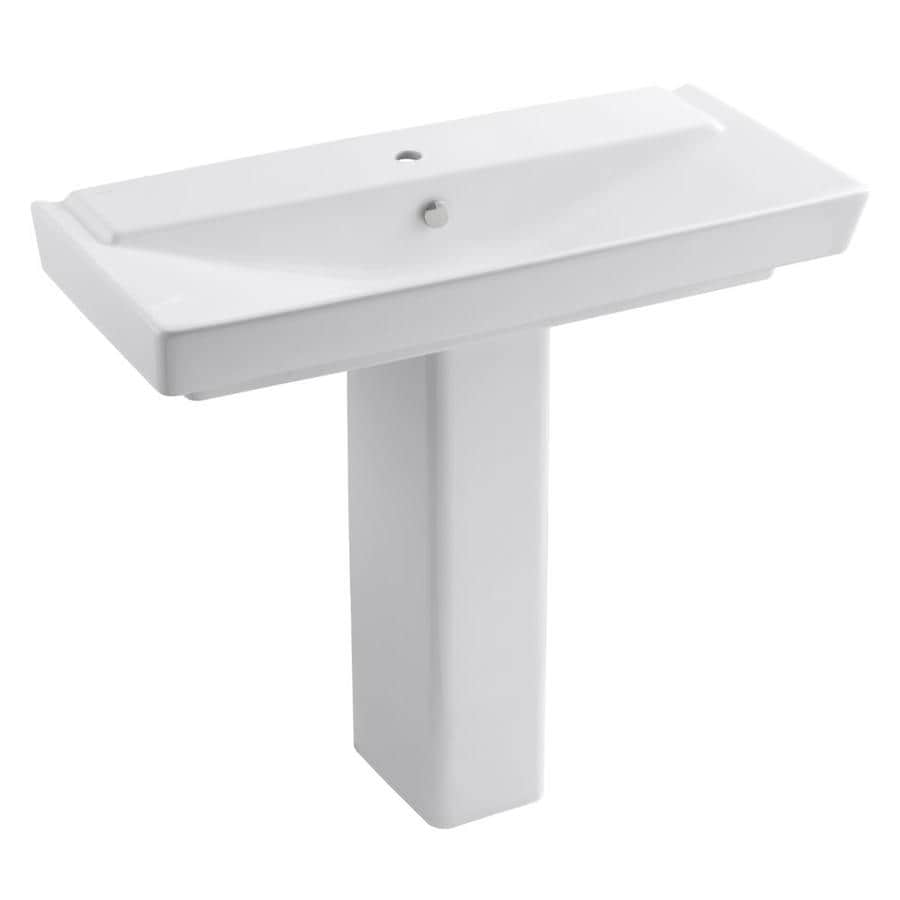 KOHLER Rve 35.5-in H Honed White Fire Clay Pedestal Sink