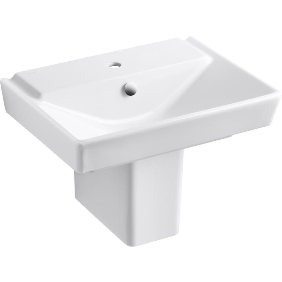 KOHLER Rve 7.4375-in H White Fire Clay Pedestal Sink