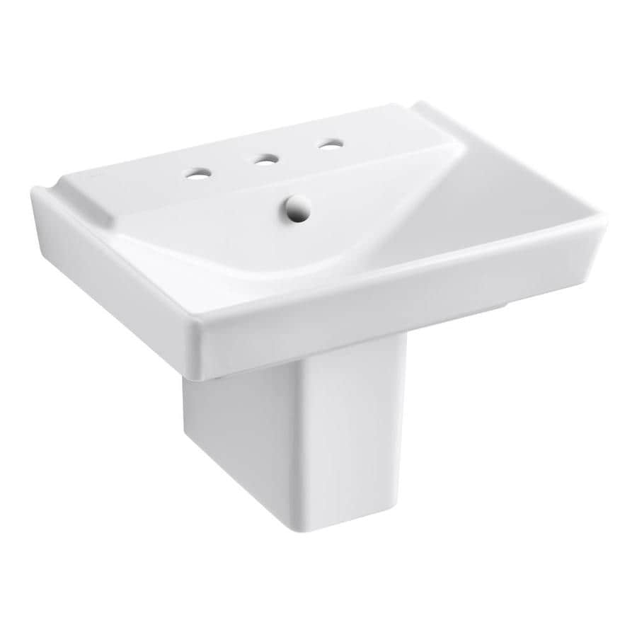 KOHLER Rve 18.4375-in H Honed White Fire Clay Pedestal Sink