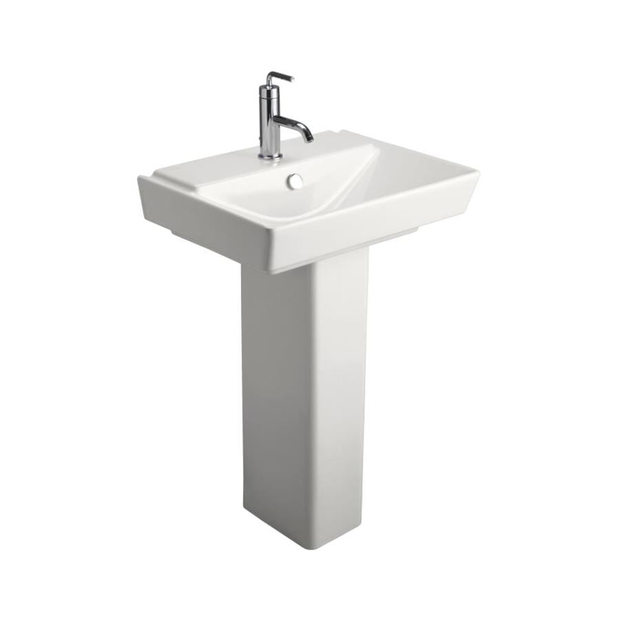 KOHLER Rve 35.5-in H White Fire Clay Pedestal Sink