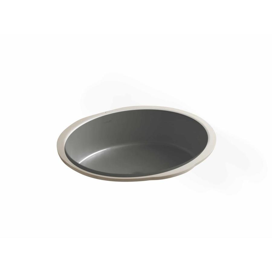 KOHLER Verticyl Thunder Grey Undermount Oval Bathroom Sink with Overflow