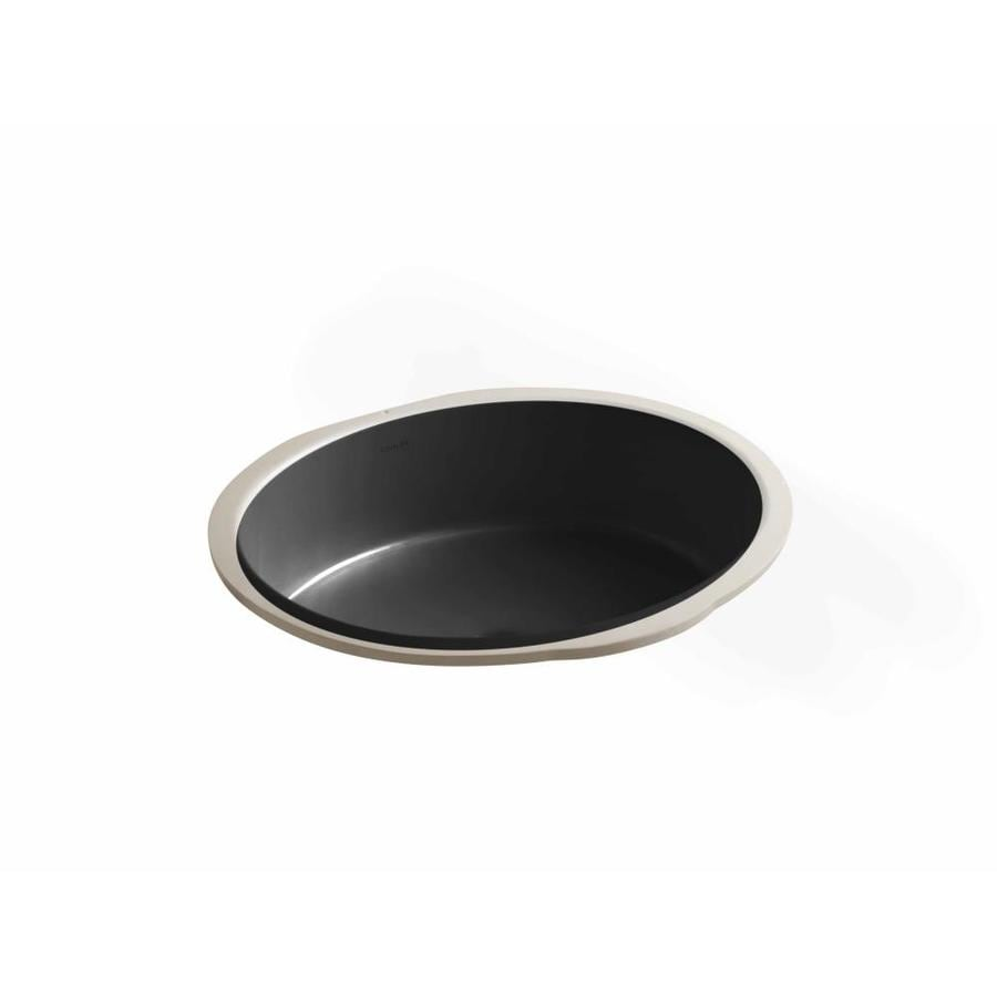 KOHLER Verticyl Black Undermount Oval Bathroom Sink with Overflow