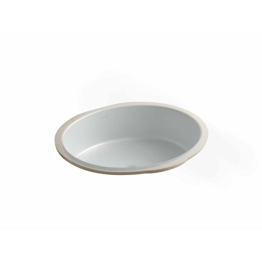 KOHLER Verticyl Ice Grey Undermount Oval Bathroom Sink with Overflow