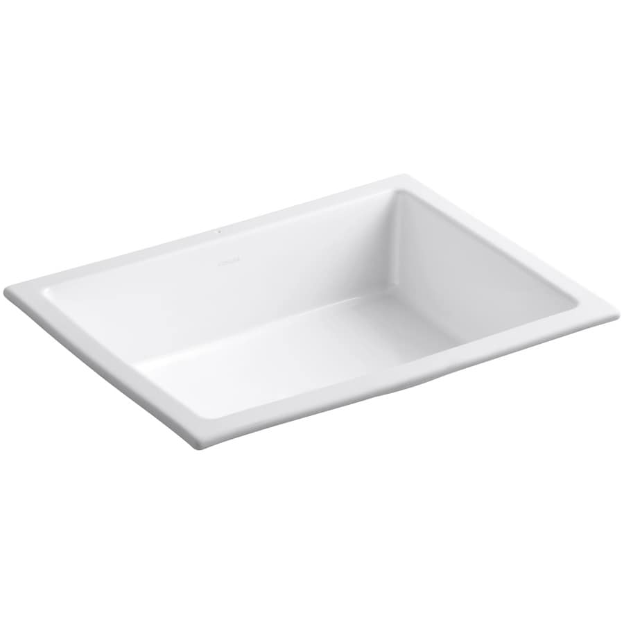 KOHLER Verticyl White Undermount Rectangular Bathroom Sink With Overflow