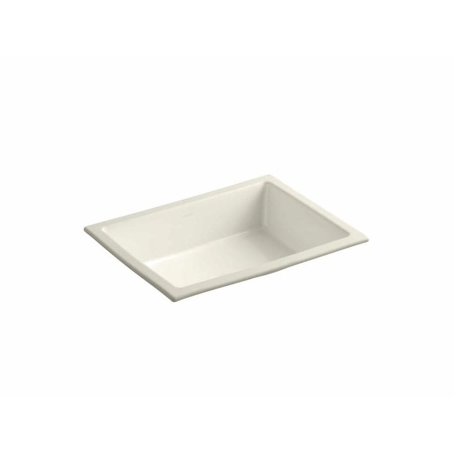 KOHLER Verticyl Almond Undermount Rectangular Bathroom Sink with Overflow