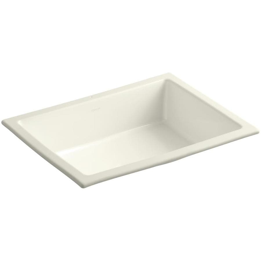 KOHLER Verticyl Biscuit Undermount Rectangular Bathroom Sink with Overflow