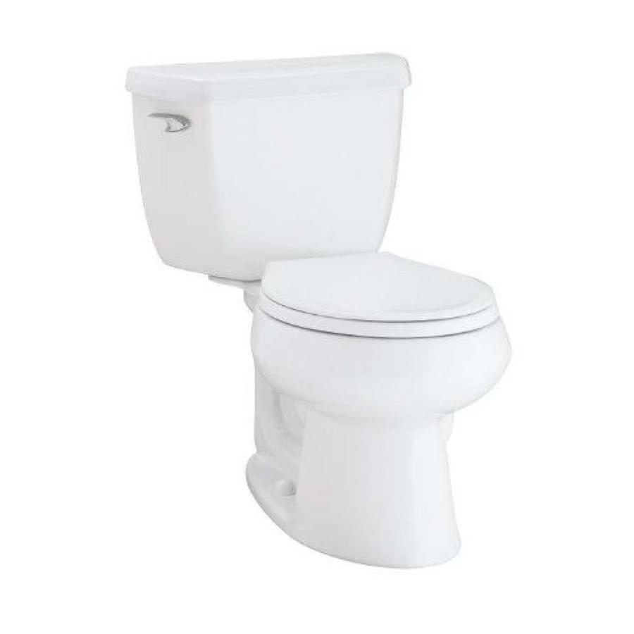 KOHLER Wellworth White WaterSense Labeled  Round Standard Height 2-piece Toilet 12-in Rough-In Size