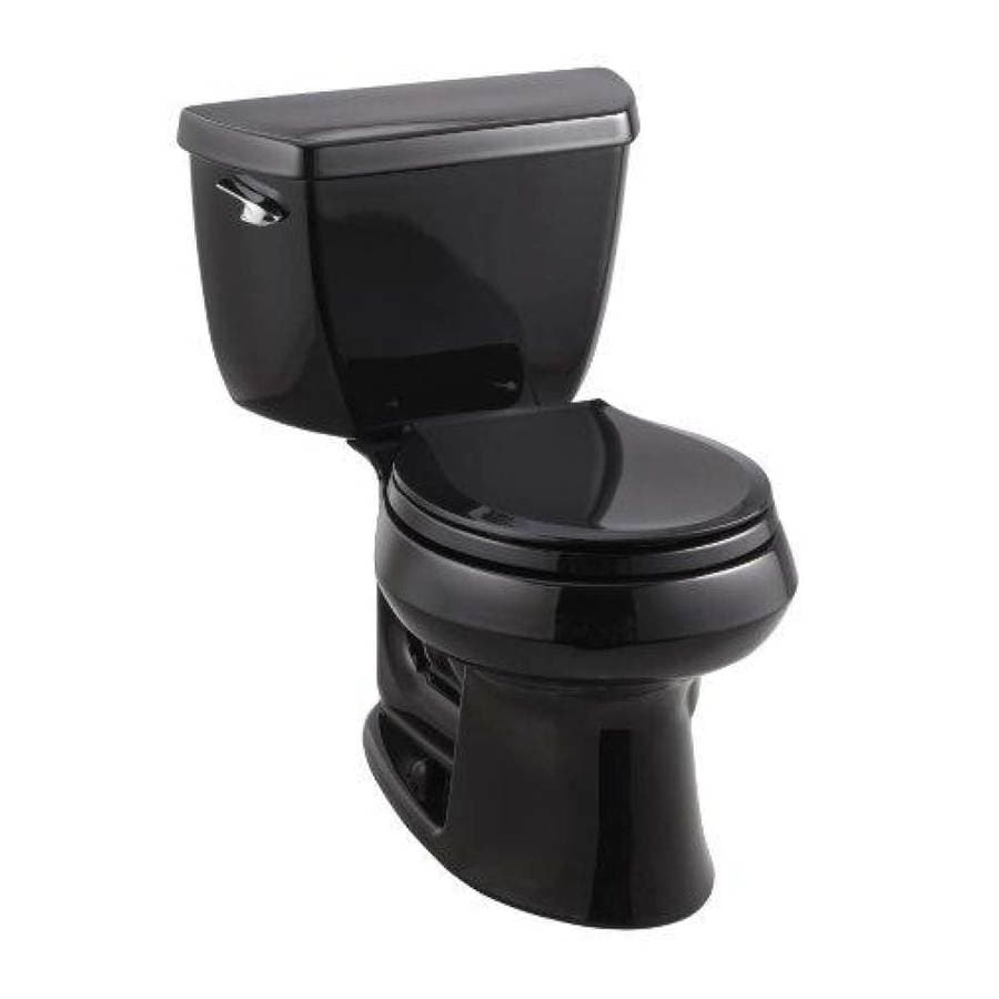 KOHLER Wellworth 1.28 Black Black WaterSense Round Standard Height 2-Piece Toilet