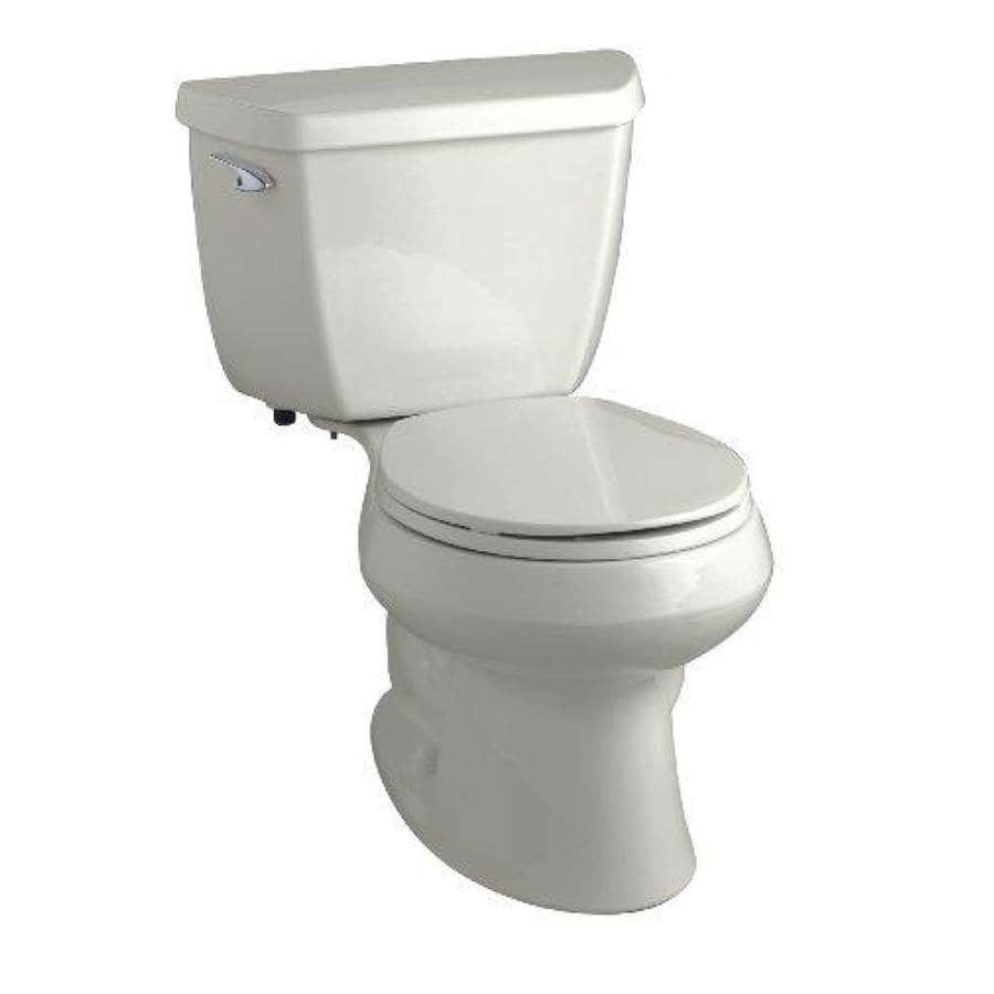 KOHLER Wellworth Ice Grey 1.28-GPF (4.85-LPF) 12-in Rough-In WaterSense Round 2-Piece Standard Height Toilet