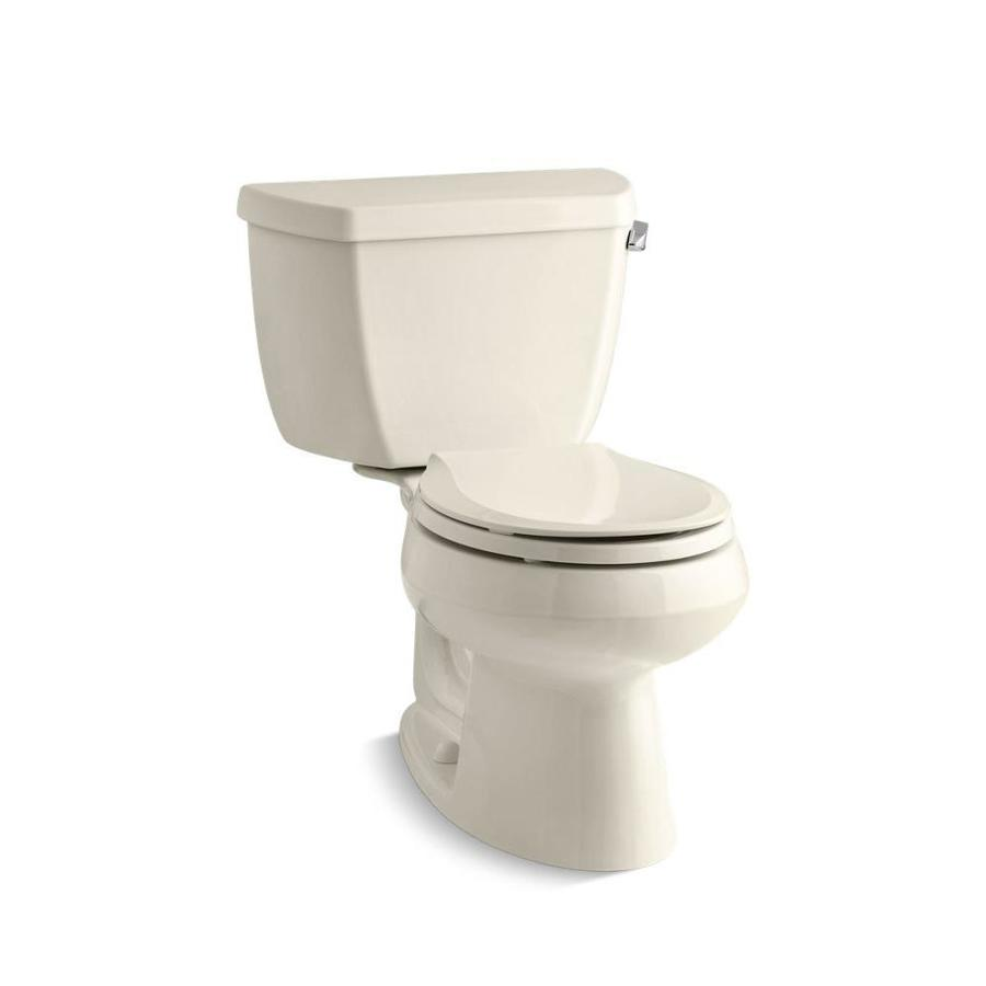 KOHLER Wellworth 1.28-GPF (4.85-LPF) Almond WaterSense Round Standard Height 2-Piece Toilet