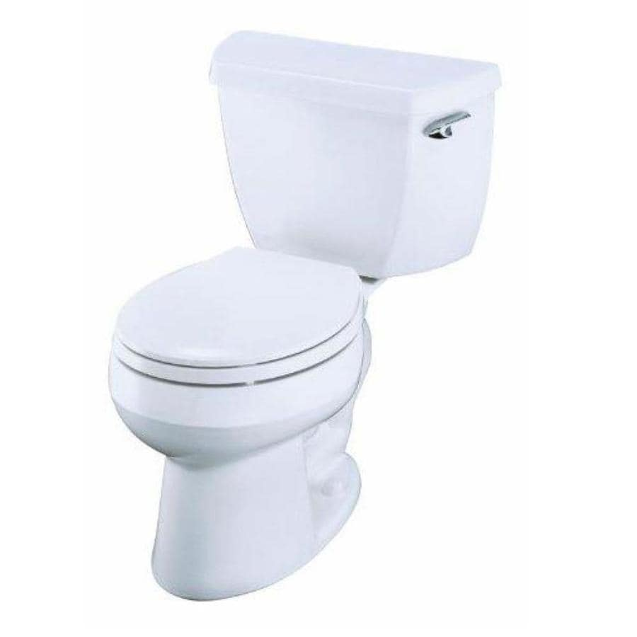 KOHLER Wellworth 1.28-GPF (4.85-LPF) White Round 2-piece Toilet