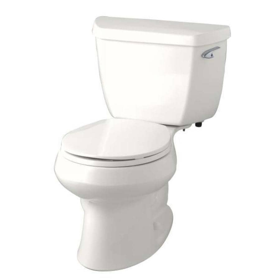 KOHLER Wellworth Almond WaterSense Labeled  Round Standard Height 2-piece Toilet 12-in Rough-In Size