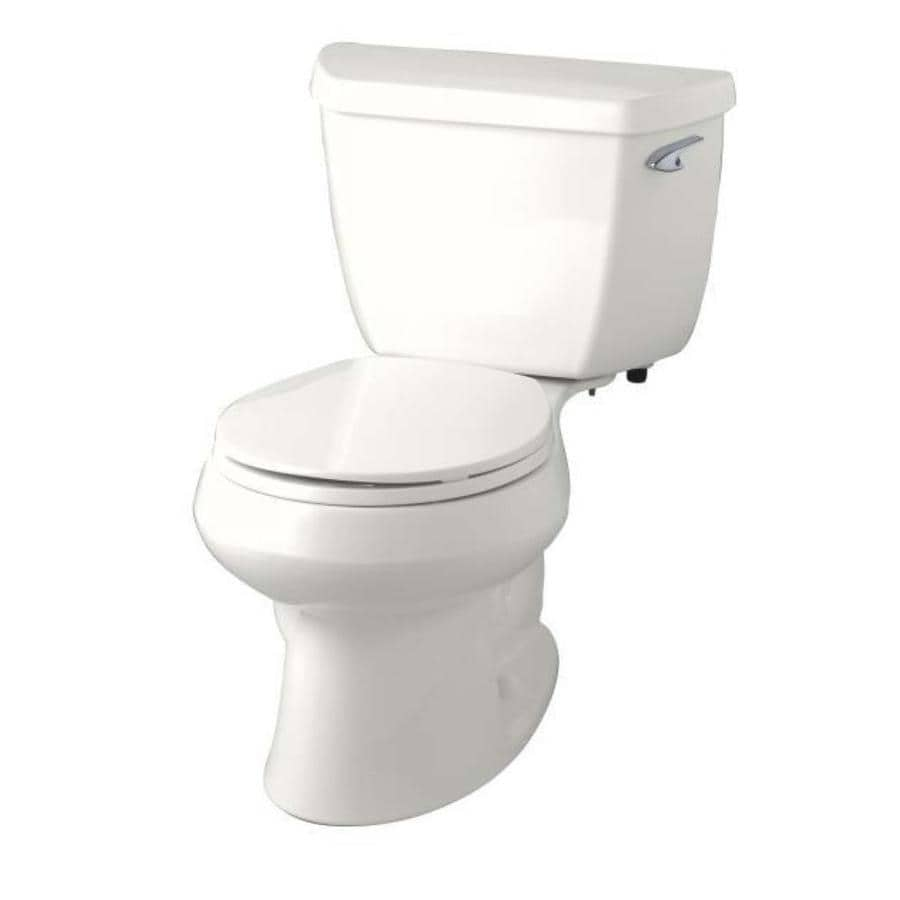 KOHLER Wellworth Biscuit WaterSense Labeled  Round Standard Height 2-piece Toilet 12-in Rough-In Size