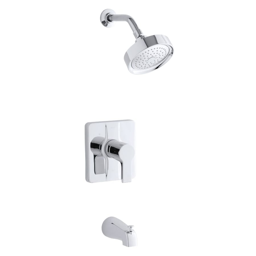 KOHLER Singulier Polished Chrome 1-Handle Bathtub and Shower Faucet Trim Kit with Single Function Showerhead