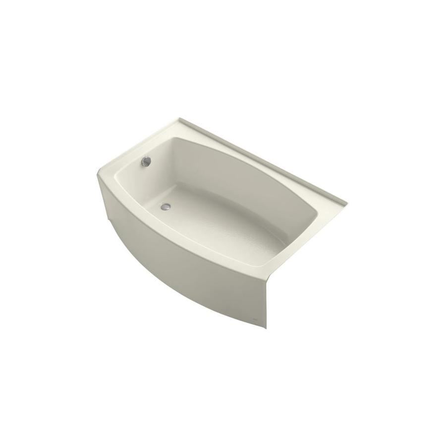 KOHLER Expanse Biscuit Acrylic Oval Skirted Bathtub with Left-Hand Drain (Common: 32-in x 60-in; Actual: 17-in x 32-in x 60-in)