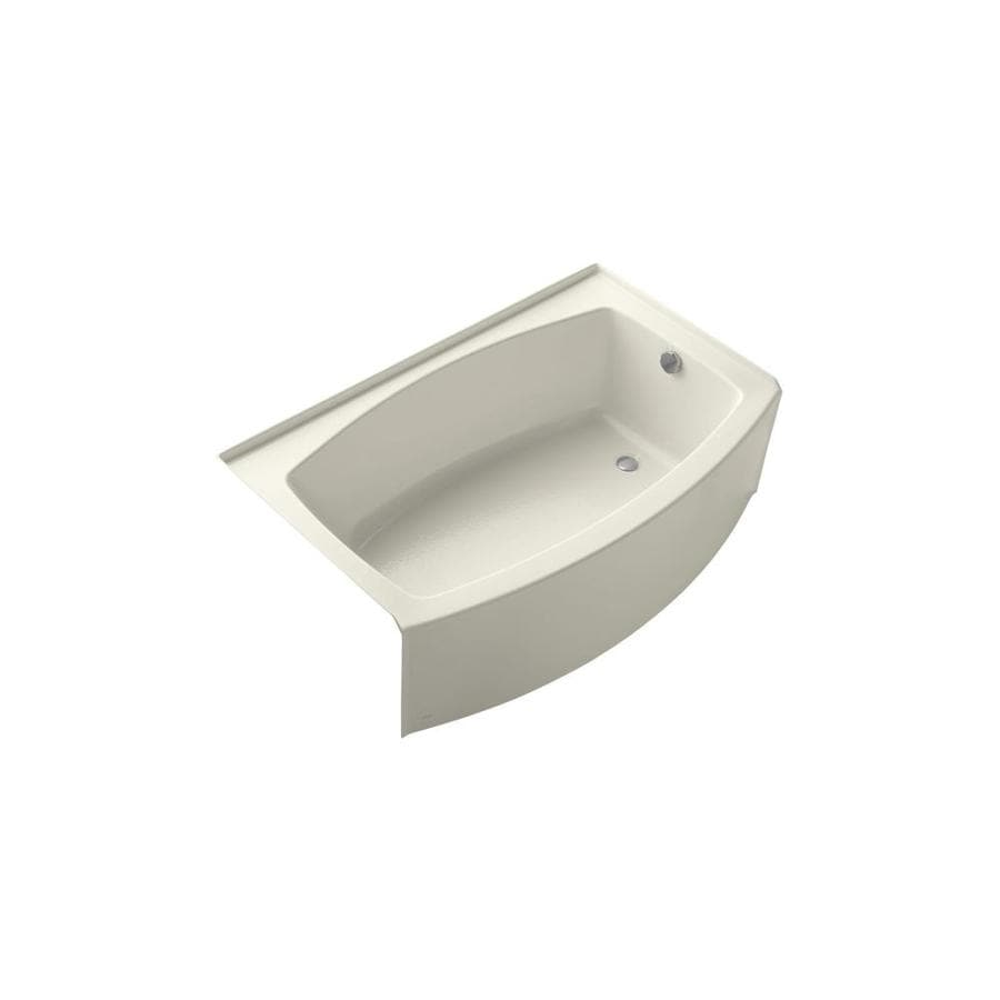 KOHLER Expanse Biscuit Acrylic Oval Skirted Bathtub with Right-Hand Drain (Common: 32-in x 60-in; Actual: 17-in x 32-in x 60-in)