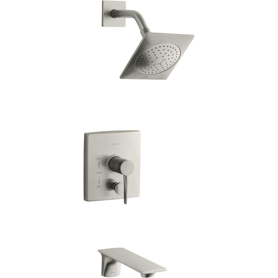 KOHLER Stance Vibrant Brushed Nickel 1-Handle Bathtub and Shower Faucet Trim Kit with Single Function Showerhead