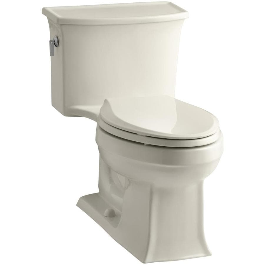 KOHLER Archer 1.28 Almond WaterSense Elongated Standard Height 1-Piece Toilet