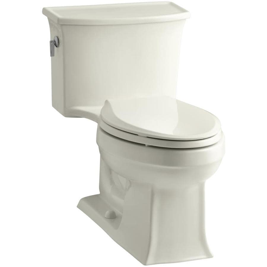 KOHLER Archer Biscuit WaterSense Labeled  Elongated Standard Height 1-piece Toilet 12-in Rough-In Size