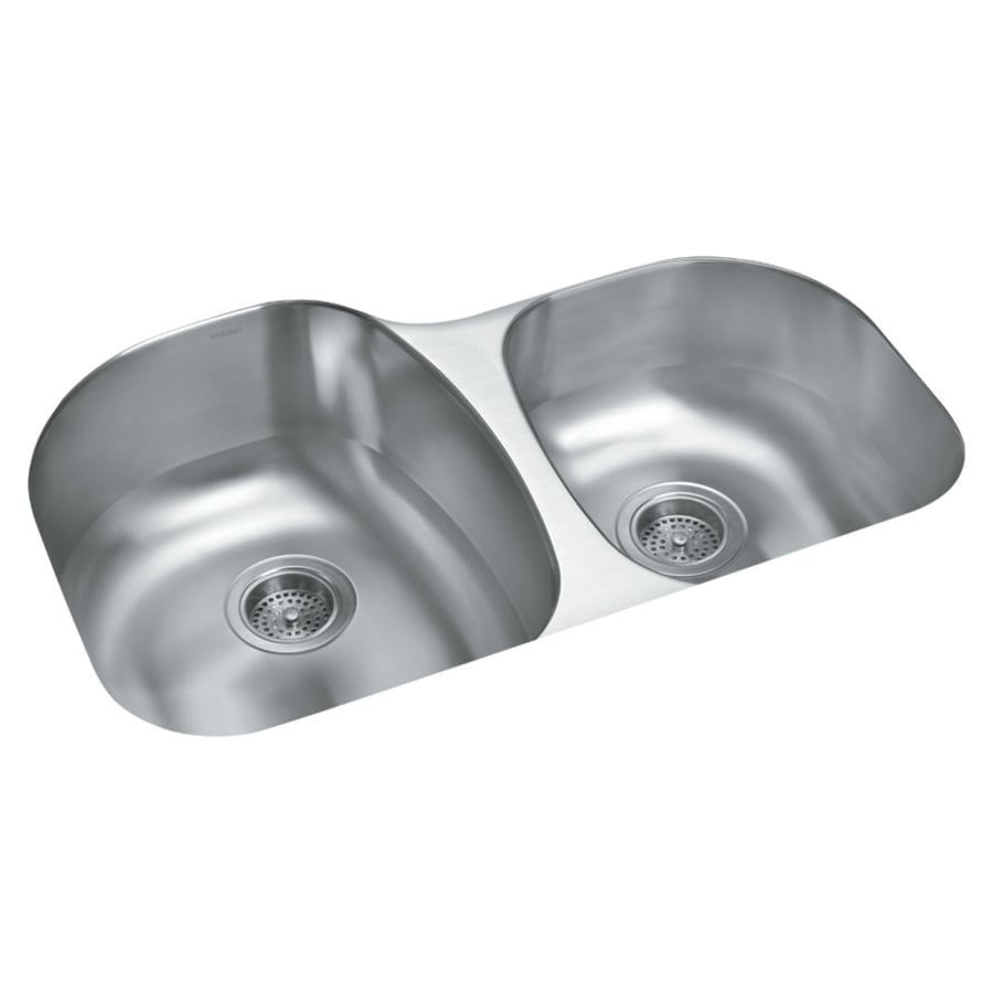 Sterling Cinch 20.5-in x 31.5-in Luster Double-Basin Undermount Residential Kitchen Sink