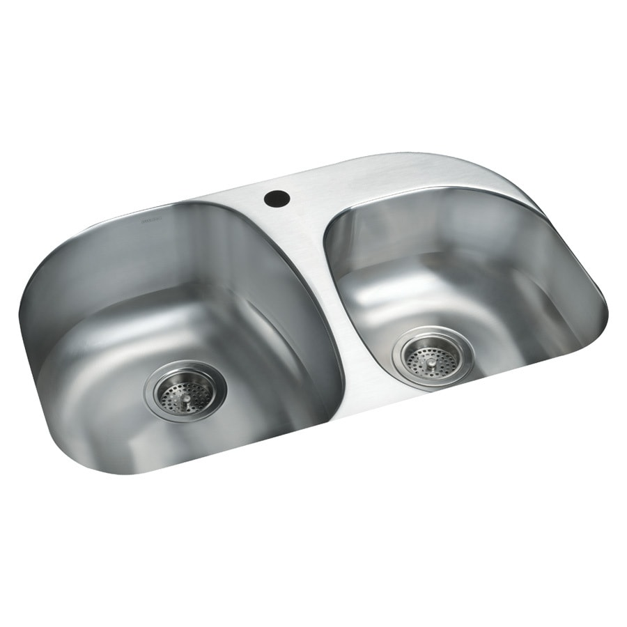 Sterling Cinch 20.5-in x 31.5-in Luster Double-Basin Undermount 1-Hole Residential Kitchen Sink