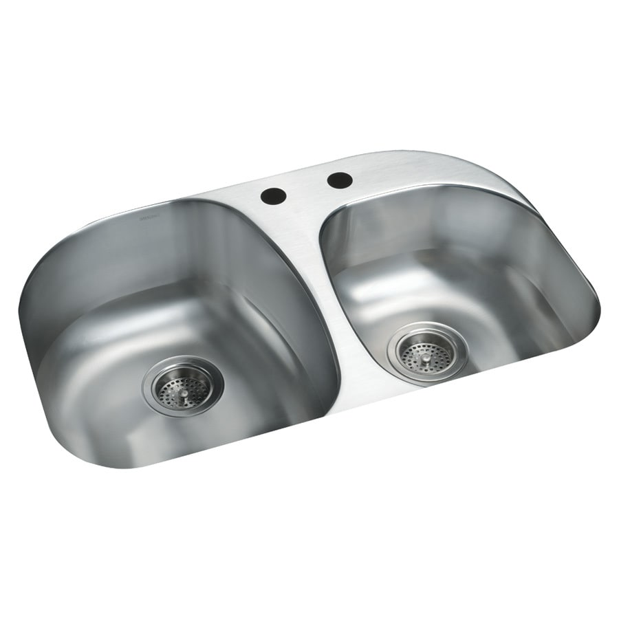 Sterling Cinch 20.5-in x 31.5-in Luster Double-Basin Stainless Steel Undermount 2-Hole Residential Kitchen Sink