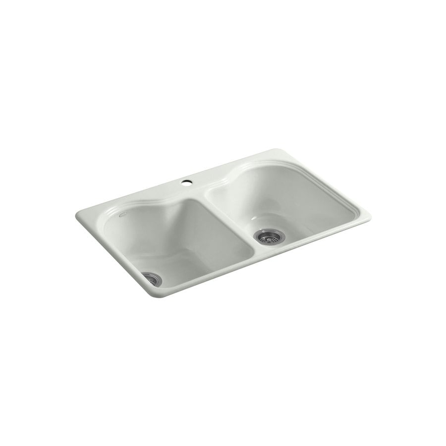 KOHLER Hartland 22-in x 33-in Sea Salt Double-Basin Cast Iron Drop-in 1-Hole Residential Kitchen Sink