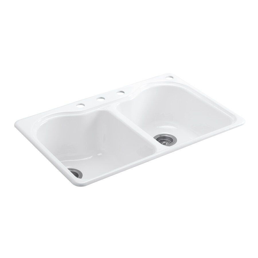 KOHLER Hartland 22-in x 33-in White Double-Basin Cast Iron Drop-in 2-Hole Residential Kitchen Sink