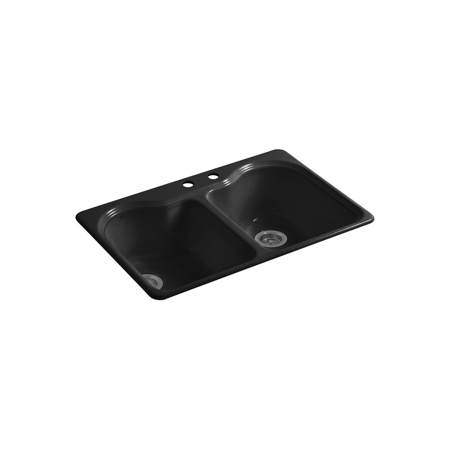 KOHLER Hartland 22-in x 33-in Black Black Double-Basin Cast Iron Drop-in 2-Hole Residential Kitchen Sink